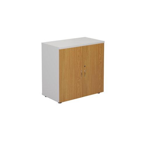 800 Wooden Cupboard (450mm Deep) White Carcass Nova Oak Doors