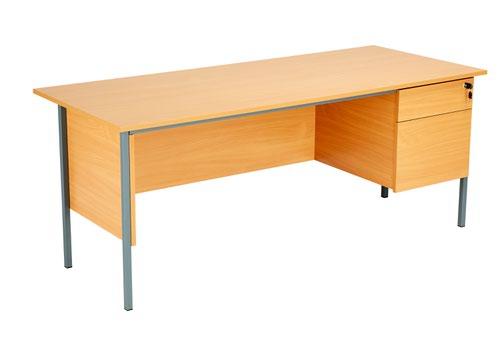Eco 18 1800X750 4 Leg Rectangular Desk 2D Ped Beech-Black