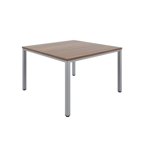 Fraction Infinity 120 X 120 Meeting Table - Dark Walnut With Silver Legs