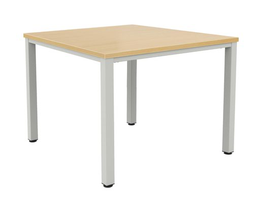 Fraction Infinity 120 X 120 Meeting Table - Nova Oak With Silver Legs