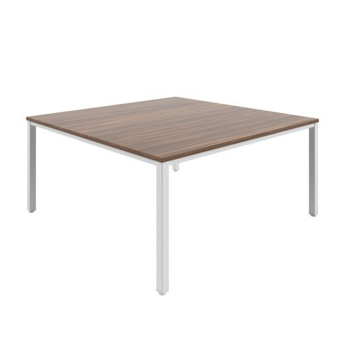 Fraction Infinity 160 X 160 Meeting Table - Dark Walnutwith White Legs
