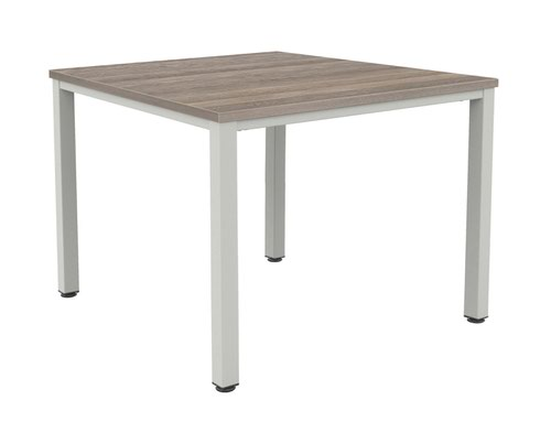Fraction Infinity 160 X 160 Meeting Table - Grey Oak With Silver Legs