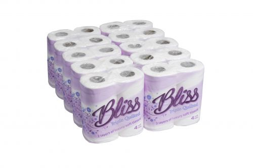 Bliss 3Ply Ultra Soft Luxury Toilet Rll 110mm 52mm Core 170 Sheets Case 40 3P