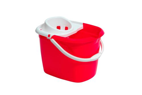 Plastic Mop Bucket With Wringer Red Single Bucket