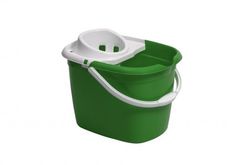 Plastic Mop Bucket With Wringer Green Single Bucket