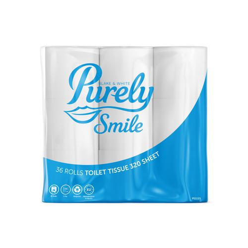 Purely Smile Toilet Roll 2ply 320 Sheet Pack36 (9x4)