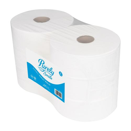 Tecman Jumbo Recycled Toilet Roll 90mm X 300M 76mm Core 855 Sheets Case 6 3P