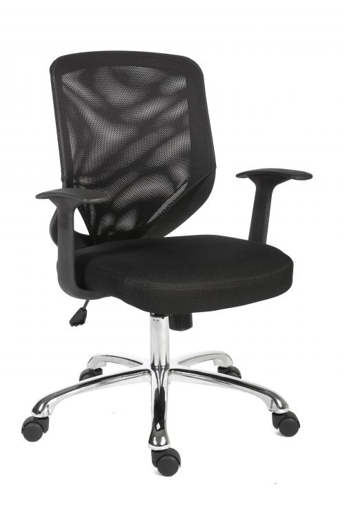Teknik Office Nova Mesh Back Executive Chair Matching Black Fabric Seat and Removable Fixed Nylon Armrests