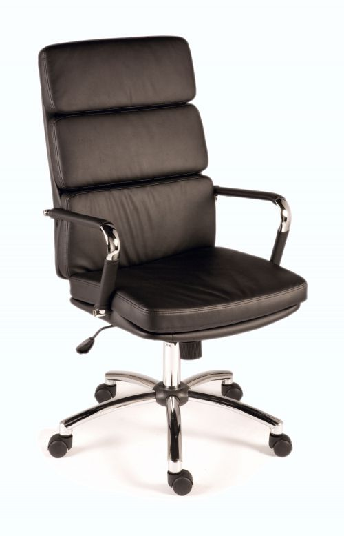 Teknik Office Deco Retro Style Executive Black Faux Leather Chair with Matching Removable Arm Covers