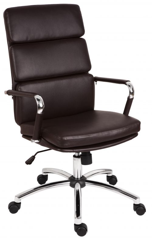 Teknik Office Deco Retro Style Executive Brown Faux Leather Chair with Matching Removable Arm Covers