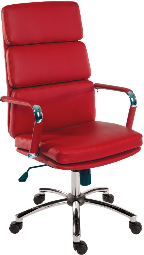 Teknik Office Deco Retro Style Executive Red Faux Leather Chair with Matching Removable Arm Covers