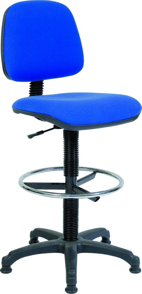 Teknik Office Ergo Blaster Blue Fabric Operator Chair With Ring Kit Conversion And Fixed Footrest