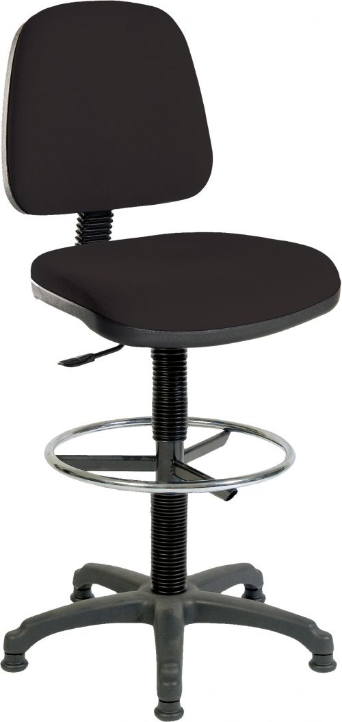 Teknik Office Ergo Blaster Black Fabric Operator Chair With Ring Kit Conversion And Fixed Footrest