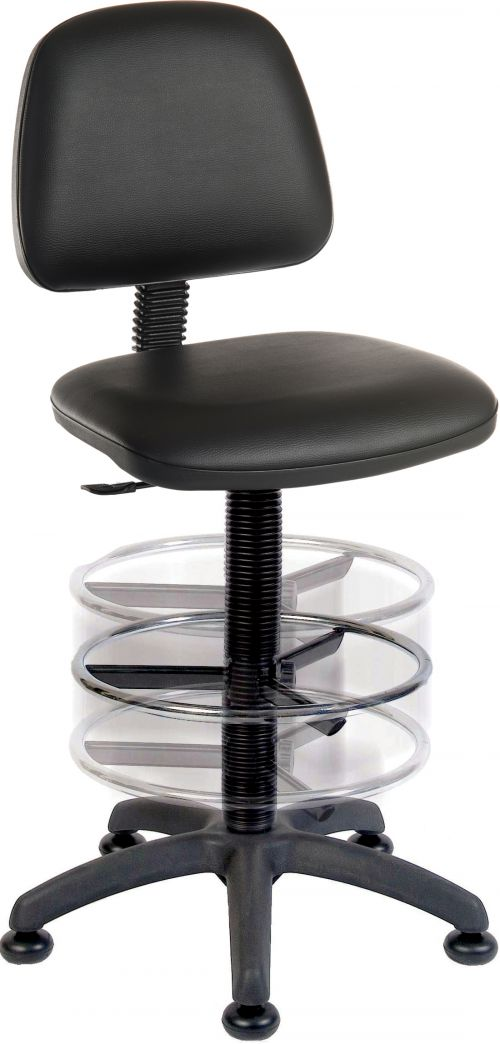 Teknik Ergo Blaster Black PU Operator Chair With Ring Kit Conversion Wipe Clean Seat and Movable Footring