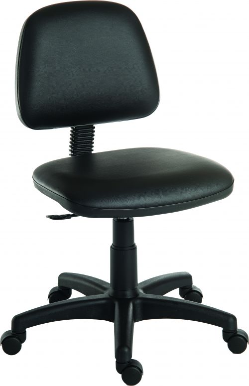 Teknik Office Ergo Blaster Black PU Operator Chair Medium Backrest Height Adjustable Wipe Clean Seat Accepts Optional Arm Rests