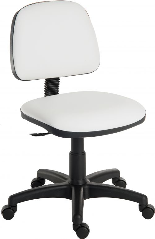 Teknik Office Ergo Blaster White PU Operator Chair Medium Backrest Height Adjustable Wipe Clean Seat Accept Optional Arm Rests