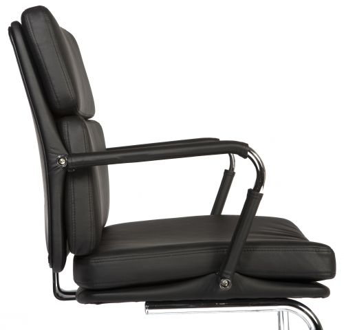 Teknik Office Retro Style Cantilever Black Faux Leather Chair Matching Removable Arm Covers