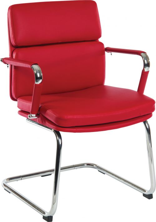 Teknik Office Retro Style Cantilever Red Faux Leather Chair with Matching Removable Arm Covers