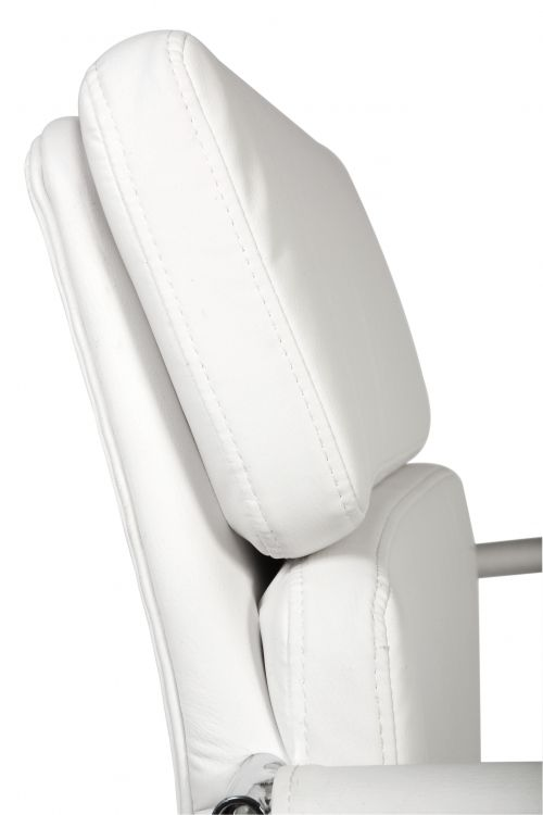 Teknik Office Retro Style Cantilever White Faux Leather Chair Matching Removable Arm Covers