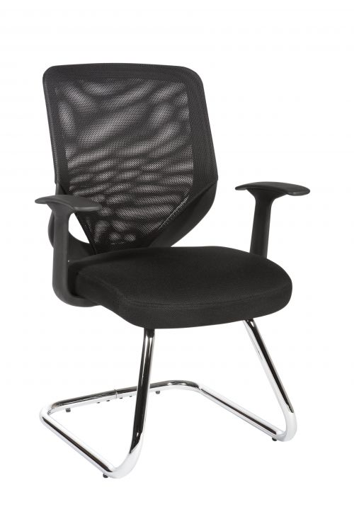 Teknik Office Nova Mesh Back Cantilever Visitor Chair Matching Black Fabric Seat and Removable Fixed Nylon Armrests