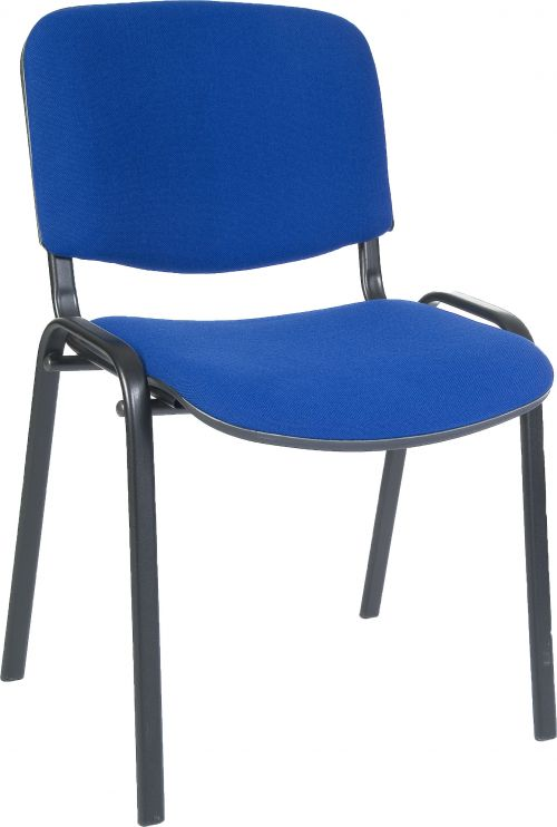 Teknik Office Conference Blue Fabric Stackable Fully Assembled Chair With Padded Seat and Backrest