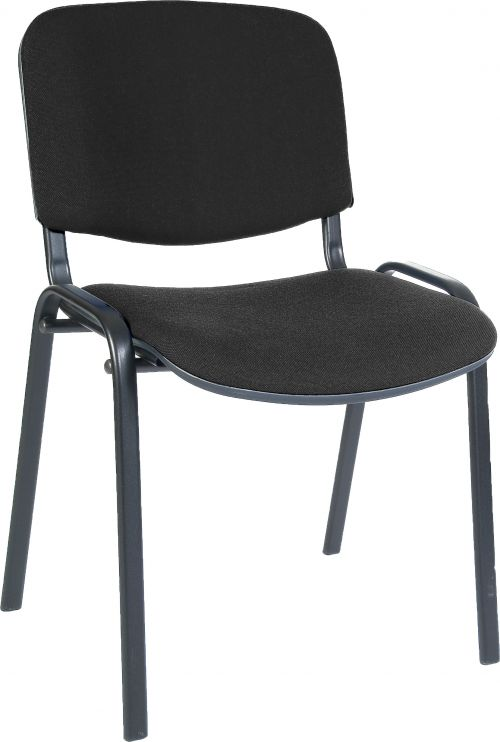 Teknik Office Conference Black Fabric Stackable Fully Assembled Char With Padded Seat and Backrest