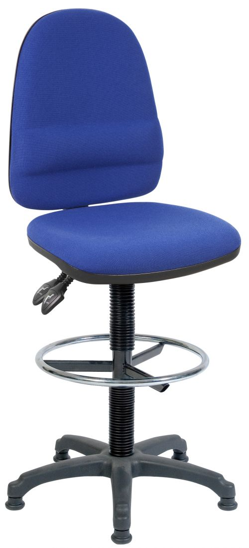Teknik Office Ergo Twin Blue Fabric Operator Chair With Ring Kit Conversion and Fixed Footrest