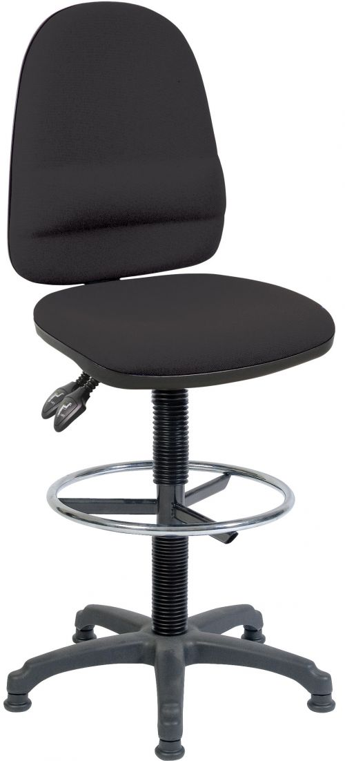 Teknik Office Ergo Twin Black Fabric Operator Chair With Ring Kit Conversion and Fixed Footrest