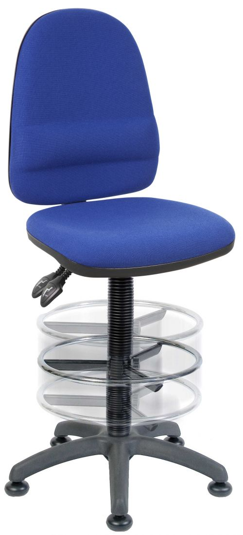 Teknik Office Ergo Twin Blue Fabric Operator Chair Deluxe Ring Kit Conversion And Movable Footring
