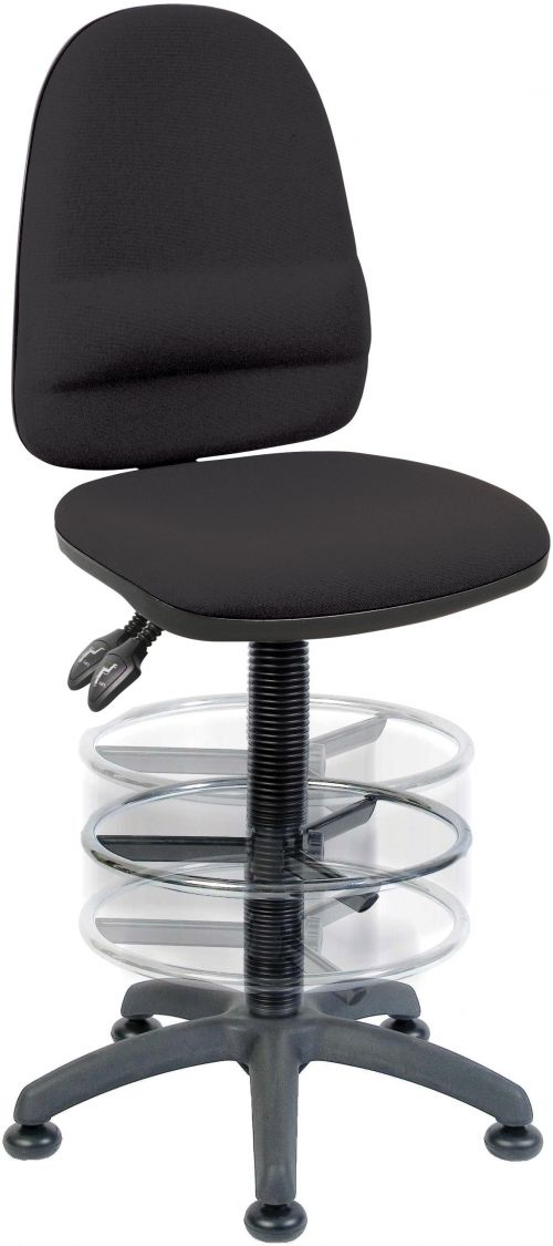 Teknik Office Ergo Twin Black Fabric Operator Chair With Deluxe Ring Kit Conversion and Movable Footring