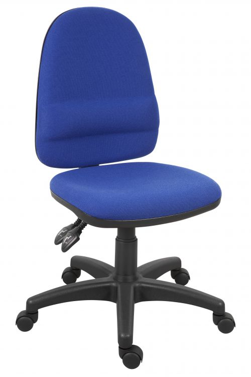 Teknik Office Ergo Twin Blue Fabric Operator Chair Pronounced Lumbar Support and Sturdy Nylon Base Optional Arm Rests
