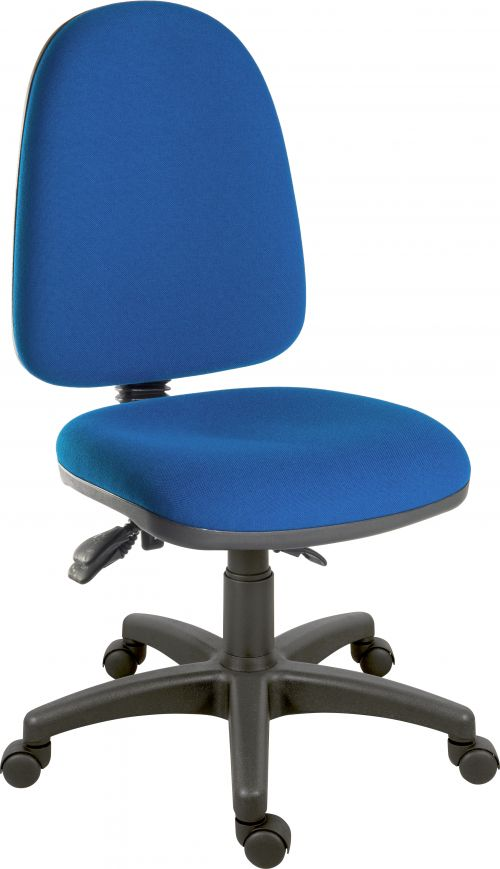 Teknik Office Ergo Trio Blue Fabric Operator Chair 3 Lever Mechanism  Sturdy Nylon Base Accepts Optional Arm Rests