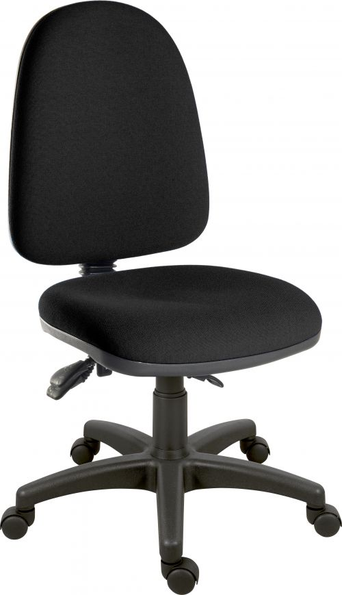 Teknik Office Ergo Trio Black Fabric Operator Chair 3 Lever Mechanism Sturdy Nylon Base Accepts Optional Arm Rests
