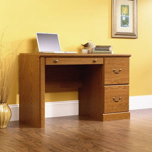 Teknik Office Carolina Oak Effect Traditional Computer Workcentre with one A4 Filer Drawer Hidden Storage Cupboard and Flip Down Keyboard Drawer