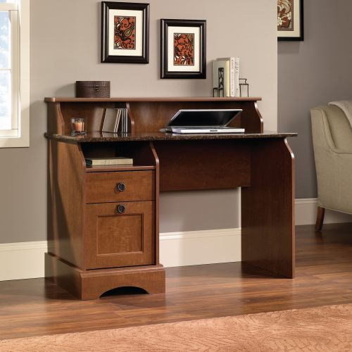 Teknik Office Farmhouse Desk with Autumn Maple Finish Sunset Granite Accent Desktop Two Storage Drawers and Three Storage Cubbys