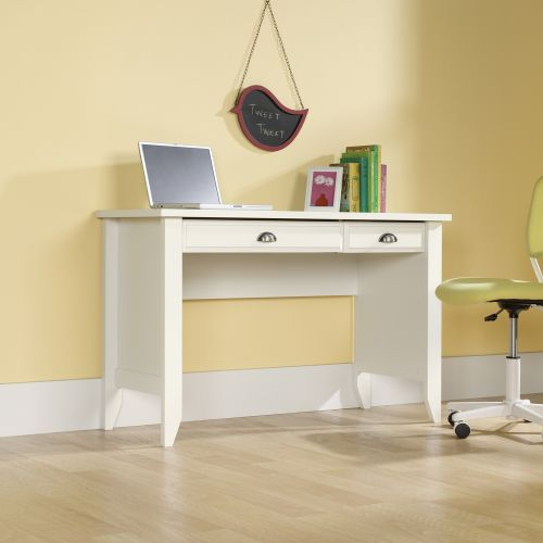 Teknik Office Soft White Effect Laptop Home Office Study Desk With Stationery And Keyboard Drawer