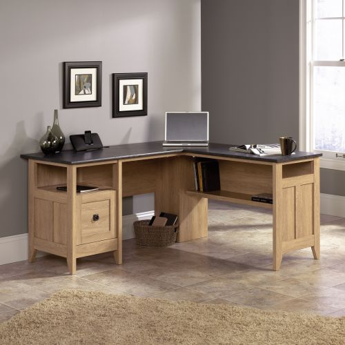 Teknik Office L-Shaped Executive Desk With Dover Oak Finish and Stylish Slate Coloured Desktop