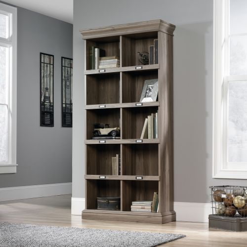 Teknik Office Barrister Home Tall Bookcase in Salt Oak Finish with Ten Cubby Holes and Contrasting Metal Identification Tags