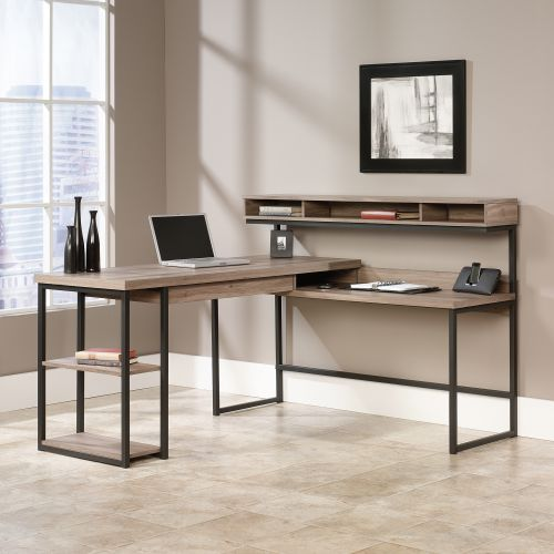 Teknik Office Streamline L-Shaped Executive Desk with Salt Oak Finish and Stylish Durable Steel Frame