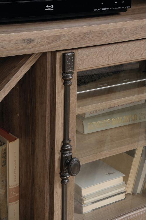 Teknik Office Barrister Home Corner TV Stand Salt Oak Finish with Space for 42in TV Two Adjustable Shelves Safety Tempered Glass Door Storage Rack