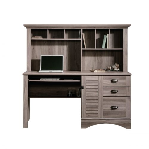 Teknik Office Louvre Hutch Desk In A Salt Oak Finish Slide Out Keyboard Mouse Shelf