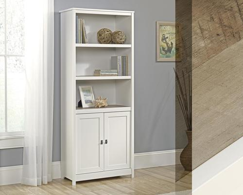 Teknik Office Shaker Style Bookcase with Doors in Soft White Finish, three adjustable shelves and hidden storage