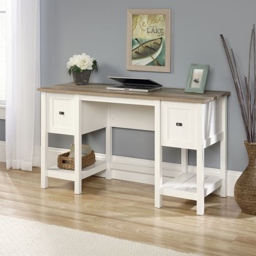 Teknik Office Shaker Style Desk In Soft White Contrasting Lintel Oak Accent Desktop One Letter Sized Filing Drawer And Shelf Storage