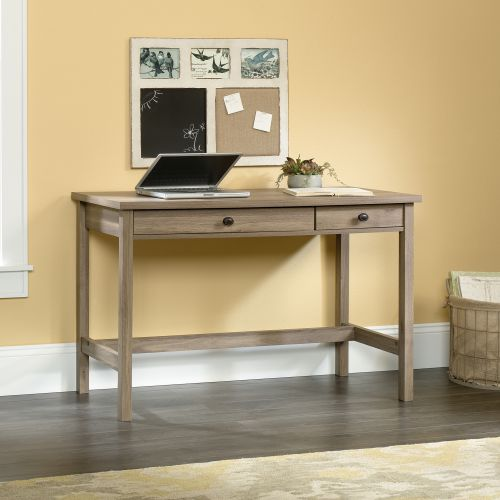 Teknik Office Salt Oak Effect Home Office Console Style Study Desk With Two Stationery Drawers