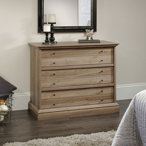 Teknik Office Barrister Home Three Drawer Chest Salt Oak Finish with Patented T-lock Assembly System Metal Runners and Safety Stops