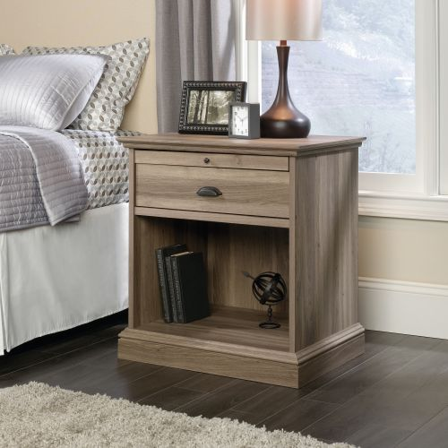 Teknik Office Barrister Home Night Stand Salt Oak Finish with One Drawer Open Cubby and Discreet Slide out Shelf