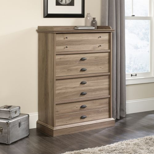 Teknik Office Barrister Home Four Drawer Chest Salt Oak Finish with Patented T-lock Assembly System Feature Metal Runners and Safety Stops