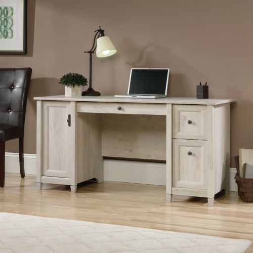 Teknik Office Chalked Wood Computer Desk with Chalked effect Chestnut Finish Two Storage Drawers Flip Down Keyboard Drawer and Vertical Storage Area