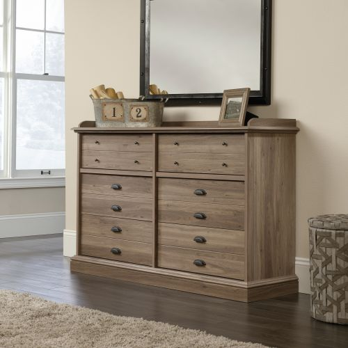 Teknik Office Barrister Home Dresser Salt Oak Finish with Six Drawers Featuring Metal Runners with Safety Stops and Black Metal Handles