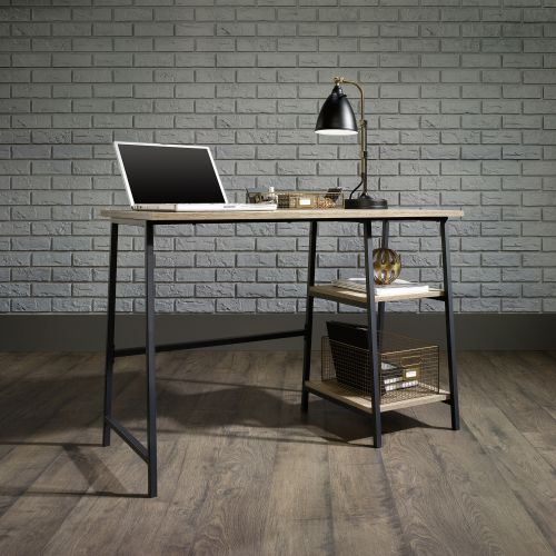 Teknik Office Industrial Style Bench Durable Black Metal Frame Charter Oak Effect Desktop With 2 Matching Storage Shelves